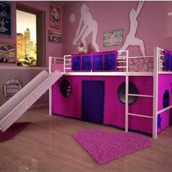 Dorel Home - Dorel Home Junior Fantasy Loft with Slide - White - AMW466 - Shop for Bunk Beds from Hayneedle.com! Your child's dreams and imagination will come to life with the Dorel Home Junior Fantasy Loft with Slide - White. Designed so your child will enjoy playing and spending time in her room whether by herself or with friends this loft bed with a slide provides hours of entertainment. Add the optional tent to this bed and your child will have her own fort underneath perfect for hiding playing and storing items. This metal bed is finished in a classic white which matches any decor and meets ASTM and CPC safety specifications. A guardrail runs along the length of the bed for added safety. Made for use without a box spring you'll be able to buy the twin mattress of your choice to go with this bed. This loft bed can also hold up to 225 lbs. which means you can spend time sitting on the bed with your child talking cuddling and just spending time together.Additional FeaturesMade for use without a box springOptional tent availableTent turns loft bed into a fun fortRail pockets beside the bed ideal for storageAbout Dorel IndustriesFounded in 1962 Dorel Industries is a family of over 26 brands including bicycle brands Schwinn and Mongoose baby lines Safety 1st and Quinny as well as home furnishing brands Ameriwood and Altra Furniture. Their home furnishing division specializes in ready-to-assemble pieces including futons microwave stands ladders and more. Employing over 4 500 people in 17 countries and over four continents Dorel is renowned for their product diversity and exceptionally strong commitment to quality.