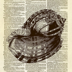 Altered Artichoke - Conch Seashell Ocean Animal Dictionary Print, Sepia - This print features an amazingly detailed antique illustration of a conch seashell. Lovely!