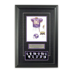 "Heritage Sports Art - Original art of the NFL 2000 Minnesota Vikings uniform - This beautifully framed piece features an original piece of watercolor artwork glass-framed in an attractive two inch wide black resin frame with a double mat. The outer dimensions of the framed piece are approximately 17"" wide x 24.5"" high, although the exact size will vary according to the size of the original piece of art. At the core of the framed piece is the actual piece of original artwork as painted by the artist on textured 100% rag, water-marked watercolor paper. In many cases the original artwork has handwritten notes in pencil from the artist. Simply put, this is beautiful, one-of-a-kind artwork. The outer mat is a rich textured black acid-free mat with a decorative inset white v-groove, while the inner mat is a complimentary colored acid-free mat reflecting one of the team's primary colors. The image of this framed piece shows the mat color that we use (Purple). Beneath the artwork is a silver plate with black text describing the original artwork. The text for this piece will read: This original, one-of-a-kind watercolor painting of the 2000 Minnesota Vikings uniform is the original artwork that was used in the creation of this Minnesota Vikings uniform evolution print and tens of thousands of other Minnesota Vikings products that have been sold across North America. This original piece of art was painted by artist Bill Band for Maple Leaf Productions Ltd. Beneath the silver plate is a 3"" x 9"" reproduction of a well known, best-selling print that celebrates the history of the team. The print beautifully illustrates the chronological evolution of the team's uniform and shows you how the original art was used in the creation of this print. If you look closely, you will see that the print features the actual artwork being offered for sale. The piece is framed with an extremely high quality framing glass. We have used this glass style for many years with excellent results. We package every piece very carefully in a double layer of bubble wrap and a rigid double-wall cardboard package to avoid breakage at any point during the shipping process, but if damage does occur, we will gladly repair, replace or refund. Please note that all of our products come with a 90 day 100% satisfaction guarantee. Each framed piece also comes with a two page letter signed by Scott Sillcox describing the history behind the art. If there was an extra-special story about your piece of art, that story will be included in the letter. When you receive your framed piece, you should find the letter lightly attached to the front of the framed piece. If you have any questions, at any time, about the actual artwork or about any of the artist's handwritten notes on the artwork, I would love to tell you about them. After placing your order, please click the ""Contact Seller"" button to message me and I will tell you everything I can about your original piece of art. The artists and I spent well over ten years of our lives creating these pieces of original artwork, and in many cases there are stories I can tell you about your actual piece of artwork that might add an extra element of interest in your one-of-a-kind purchase."