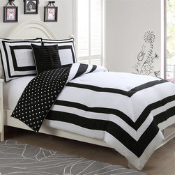 None - Hotel Juvi Reversible 4-Piece Comforter Set - The Hotel Juvenile Reversible Comforter set,has a nice and crisp look for any bedroom. The polka dot reverse add a little fun to your bedroom.