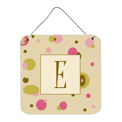 Caroline's Treasures - Letter E Initial Monogram - Tan Dots Aluminium Metal Wall Or Door Print - Great for inside or outside these Aluminum prints will add a special touch to your kitchen, bath, front door, outdoor patio or any special place.  6 inches by 6 inches and full of color.  This item will take direct sun for a while before it starts to fade.  Rust and Fade resistant.  Aluminum Print with Hanging Rope.  Rounded Corners.