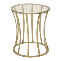 Shining Aluminum Glass Gold Accent Table - Description: