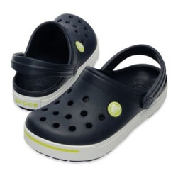 Crocs - Crocband II Kids in Navy/Citrus - These retro-style sneakers meet Crocs' classic comfort in the Crocs Crocband clog update for kids. The fully-molded Croslite material construction makes them super lightweight and the foot bed features Croslite material nub.