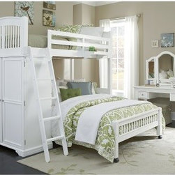 Walnut Street Locker Loft Bed - White - The Locker Loft Bed – White is a perfect storage solution for one or two children. This versatile piece features a storage locker (with four shelves and a hanging rod) built into the frame beneath the top bunk eliminating the need for a bulky chest of drawers. The area beneath can be filled either by a desk that transforms it into a study area or with a second twin-sized bed. Solid poplar hardwoods and select veneers are used to construct the frame featuring a brilliant white finish. The frame features a complete slat system the eliminates the need for a box spring. The guardrail features an attached hanging nightstand. CPSC recommends the tops of the guardrails must be no less than 5 inches above the top of the mattress and that top bunks not be used for children under 6 years of age. About New Energy KidsNE Kids is a company with a mission: to create and import truly unique furniture for your child. For over thirty years they've been accomplishing this mission with flying colors one room at a time. Not only will these products look fabulous they will provide perfect safety for your children by adhering to the highest standards set by the American Society for Testing and Material and the Consumer Products Safety Commission. Your kids are in the best of hands and everyone will appreciate these high-quality one-of-a-kind pieces for years to come.