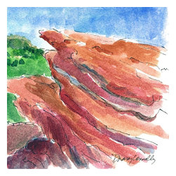 Red Rocks Park, Colorado, Original, Painting - I recently visited my sister who lives just outside denver and had the opportunity to spend the day by myself sketching in beautiful red rocks park. this is one of six small watercolors i did that day. the sky was a beautiful blue against these amazing red rock formations!