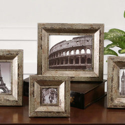 Camber, Photo Frames, S/4 - Champagne silver finish with black and caramel undertones. Holds photo size: 3.5×3.5, 4×6, 5×7, 8×10