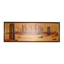 "Pre-owned Mid-Century Seivad Brooklyn Bridge Wood Print - A rare Mid-Century vintage Seivad Brooklyn Bridge wood carving print on laminate. The print is presented in a vintage frame. It is a stunningly transformative piece. When you look into it, you get a time traveling, realm shaking experience. The wood element mixed with the metropolitan subject matter imparts a powerful feng shui element of benevolence. This piece appears to be a reproduction on laminate of the original work, which we will guess was either an actual wood carving or a painting meant to look like a carving.     Outer frame: l 62.5' x h 22.5"", print: l 59.5"" x h 19.5"". The frame is angled on sides."