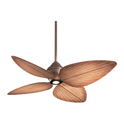 "Minka Aire - Asian 52"" Minka Aire Indoor Outdoor Gauguin Ceiling Fan - Even the tropics can turn sophisticated. This Minka Aire outdoor ceiling fan showcases four palm leaf inspired blades and a sleek contemporary look. One of the best outdoor ceiling fans this design is UL listed for wet location and approved for indoor or outdoor use. An oil-rubbed bronze finish motor is paired with Bahama beige ABS blades. A 14 degree blade pitch and 52"" blade span offer extra cooling power. Stainless steel hardware. Includes wall control. Integrated halogen light includes one MR 16 50 watt bulb. Suitable for indoor/outdoor use. Minka Aire Designer series fan. (UM)  Oil-rubbed bronze finish motor.   Four Bahama beige ABS blades.  52"" blade span.  14 degree blade pitch.  UL listed for for wet locations.  Includes wall control.  Includes one MR 16 50 watt bulb.  Includes 3 1/2"" and 6"" downrods.  Fan height 14"" blade to ceiling (with 3-/2"" downrod).  Fan height 16"" ceiling to light kit(with 3-1/2"" downrod)."