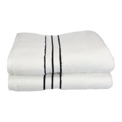 """900 GSM Hotel Collection Bath Towel Set, Black - These ultra-soft towels create a spa experience. Treat yourself to this lush, beautiful towel set for an easy way to revitalize your bath decor. This towel can also be found in various other colors. Set includes two bath towels 30""""x55"""" each."""