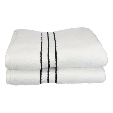 "900 GSM Hotel Collection Bath Towel Set, Black - These ultra-soft towels create a spa experience. Treat yourself to this lush, beautiful towel set for an easy way to revitalize your bath decor. This towel can also be found in various other colors. Set includes two bath towels 30""x55"" each."