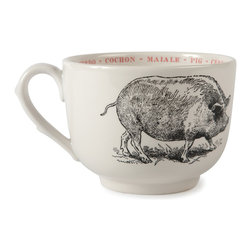 "Sir|Madam - Pig Fauna Grand Cups (Set of 4) - The detailed illustrations adorning these generous vessels are taken from vintage metal etching plates depicting beloved creatures from the animal world. Each cup's interior rim is embellished with a colorful repetition of the animal's name in four languages: English, Spanish, French, and Italian. Destined to become favorites in a crowded cupboard! Fauna Cups are microwave and dishwasher safe and come in sets of 4. Each cup measures 4.75""."