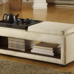 Armen Living - Cancun Double Tray Bench in Cream Microfiber - Double, reversible tray/seat, cream microfiber bench with an open storage shelf.