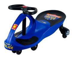 Lil Rider - Police Blue Wiggle Ride-on Car - High-quality plastics . Rugged and durable . Extra decals included . Deceptively simple to operate . No pedals . No gears . No batteries required . Measures: 30 in. L x 13.5 in. W x 16 in. HLooking for a children's toy that will delight, fascinate, and invigorate for years to come? Come to the rescue with the perfect toy: The revolutionary new Lil' Rider Wiggle car. It's like magic, but you don't need to be a magician to get it to work. The Lil' Rider Wiggle car is a mechanical marvel that makes use of that most inexhaustible of energy sources, kid-power, by harnessing the natural forces of inertia, centrifugal force, gravity, and friction. It's so easy to operate; all it needs is a driver and a smooth, flat surface. It doesn't require an expensive power source that needs constant replacement. No batteries, no power-cells, no liquid fuel-just the occasional cookie or two. It's quiet too-the only sound you'll hear is the sound of its wheels. It provides kids with plenty of exercise, more so than most toys. And the Lil' Rider Wiggle car is engineered to be absolutely safe when used appropriately.