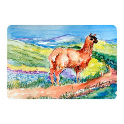 Caroline's Treasures - Llama Kitchen or Bath Mat 24 x 36 - Kitchen or Bath Comfort Floor Mat This mat is 24 inch by 36 inch. Comfort Mat / Carpet / Rug that is Made and Printed in the USA. A foam cushion is attached to the bottom of the mat for comfort when standing. The mat has been permanently dyed for moderate traffic. Durable and fade resistant. The back of the mat is rubber backed to keep the mat from slipping on a smooth floor. Use pressure and water from garden hose or power washer to clean the mat. Vacuuming only with the hard wood floor setting, as to not pull up the knap of the felt. Avoid soap or cleaner that produces suds when cleaning. It will be difficult to get the suds out of the mat.