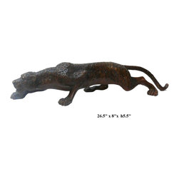 "Metal Bronze Jaguar Leopard Animal Figure - Dimensions: 26.5"" x 8""x h5.5"""