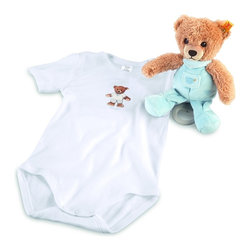 Steiff - Steiff Sleep Well Teddy Bear Music Box Gift Set - Steiff Sleep Well Teddy Bear Music Box Gift Set includes a teddy bear made of plush for baby-soft skin. The teddy bear is machine washable without the music box. Steiff Sleep Well Teddy Bear Music Box Gift Set includes a short sleeve outfit made of 100% cotton.
