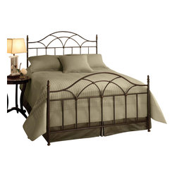 Hillsdale Furniture - Hillsdale Aria Panel Bed - Queen - Hillsdale Furniture's Aria bed, with its graceful silhouette and sculpted castings, features a brown rust finish and a visually melodic array of sweeping arched designs. Constructed of heavy gauge, fully welded metal, this bed is as sturdy as it is stylish.