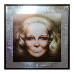 "Glittered Vintage Peggy Lee (silver) Album - Glittered record album. Album is framed in a black 12x12"" square frame with front and back cover and clips holding the record in place on the back. Album covers are original vintage covers."
