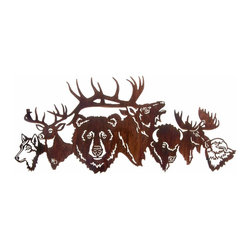 "Lazart - National Park Crew Wildlife Metal Art Over Door Hanger - National Park Crew Wildlife Metal Art Over Door Hanger. Bringing together favorite wildlife from America's national parks, this rustic metal art over door hanger is the perfect design for any rustic d?cor. From gray wolf to American bald eagle, this metal art design celebrates the majesty of nature. A warm Honey Pinion finish adds a golden glow as it catches the light, making this wildlife portrait an exceptional rustic metal art piece to hang over a door way or in an entry hall. Measures 30""W."