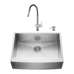 "VIGO Industries - VIGO All in One 30-inch Farmhouse Stainless Steel Kitchen Sink and Faucet Set - Add some sophistication to your kitchen with a VIGO All in One Kitchen Set featuring a 30"" Farmhouse - Apron Front kitchen sink, faucet, soap dispenser, matching bottom grid and sink strainer."
