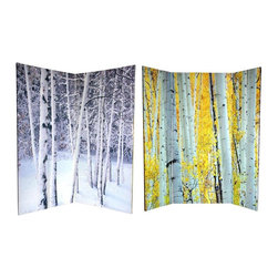 Oriental Furniture - 6 ft. Tall Double Sided Birch Trees Room Divider - Evoke the placidity of the great outdoors with this serene double-sided room divider, featuring what naturalists consider to be two of the world's most beautiful trees: Aspens Birches. The front image captures the splendor of an Aspen grove in fall, regal golden leaves still clinging to alabaster branches. On the back is a Birch grove in winter, denuded of leaves in new fallen snow. These classic arboreal images will bring subtle colors and natural shapes to your living room, bedroom, dining room, or kitchen. This four panel screen has different images on each side, as shown.