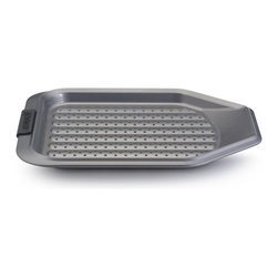 """Anolon Advanced Bakeware 11"""" x 13"""" Crisper - Put a crispier crunch on homemade French fries mini pizzas and more with the Anolon Advanced Nonstick Bakeware 11-Inch by 13-Inch Crisper with Silicone Grips. Designed to make great baking results easier and more efficient Anolon Advanced Bakeware measures up to the high standards of serious home bakers. Constructed of heavy-duty carbon steel in a medium color tone that aids in even browning this pan resists warping and provides the even heat distribution necessary for successful baking results."""