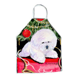 Caroline's Treasures - Christmas Tree with Bichon Frise Apron - Apron, Bib Style, 27 in H x 31 in W; 100 percent  Ultra Spun Poly, White, braided nylon tie straps, sewn cloth neckband. These bib style aprons are not just for cooking - they are also great for cleaning, gardening, art projects, and other activities, too!