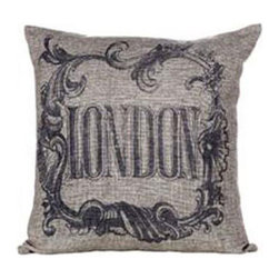 "Flourished Throw Pillow - London - Old-fashioned whorls and figures adorn this pillow bearing a vintage typography print of ""London."" Its deep gray tone is a gentle but subtly modern touch that suits it to comfortable contemporary homes."