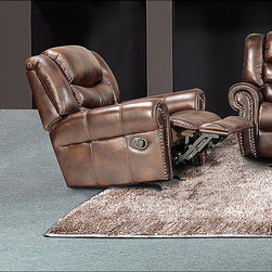 None - Godfather Brown Bonded Leather Rocker Reclining Chair - Decorate any room in your home with this beautiful Godfather brown bonded leather reclining chair. This chair features a brown bonded leather upholstery.