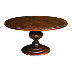 "Four Hands - Magnolia Round Dining Table 60"", Dark Oak - Dine in the round! Whitewashed mango wood and an impressive ball base pedestal give this round dining table a smart silhouette for your contemporary or traditional dining room."