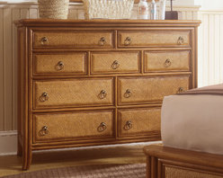 American Drew - American Drew Antigua Tall Drawer Dresser in Toasted Almond - Antigua combines popular materials  finishes  hardware and shapes and blends them with pieces for today's lifestyles. It is a collection sure to add a sophisticated coastal or tropical flare to any home. Unique options for bedroom make it easy to create the perfect setting that fits your style.