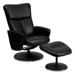 Flash Furniture - Black Leather Recliner and Ottoman with Circular Leather Wrapped Base - This overstuffed leather recliner will look great in any room in the home or office. This set features plush padding throughout the chair and ottoman as well as leather wrapped bases that provide a contemporary look. The durable leather upholstery allows for easy cleaning and regular care.