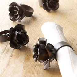 "Horchow - Two ""Rose"" Napkin Rings - Rustic-looking iron napkin rings feature rose detail. Set of two; each 2.5""Dia. x 4""T. Wipe clean. Imported."