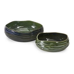 Cavalla Double Glaze Bowls - Set of 2 - With deep blue and green multi-dimensional finishes, the Cavalla bowls feature alternating colors in a small and large size for a simply beautiful transitional look.