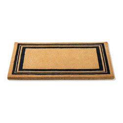 """Grandin Road - Non-Monogrammed Coco Border Door Mat - Grandin Road - Crafted from 100% natural coir. Traps dirt and debris to keep your home clean. Select a single-letter monogram or enjoy the distinguished border alone. Personalized items are nonreturnable. Like all of our mats, our Monogrammed Coco Door Mat is as durable as it is beautiful. Crafted from a full 1-1/2"""" of 100% coir, an all-natural material known for its scrubbing power and resistance to the elements. Dyes saturate the fibers for vibrant color. Specify your single-letter monogram for the perfect finishing touch, or enjoy the classic border motif alone. . . . . Imported."""