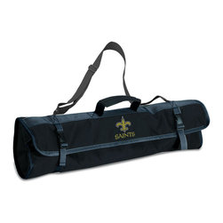 """Picnic Time - New Orleans Saints 3-pc BBQ Tote in Black - The Metro BBQ Tote stands out among other portable barbecue tool sets. It's a 3-piece BBQ tool set with silicone handles in an attractive black polyester zip-up case with an adjustable shoulder strap to match the handles of the tools inside. It includes three stainless steel tools: 1 large spatula featuring a built-in bottle opener, grill scraper, and serrated edge for cutting (17.5"""") , 1 BBQ fork (17""""), and 1 pair of tongs (16.5""""). All three tools have long handles to keep your hands away from the flames and metal loops at their ends to hang them on your barbecue. Why not add a little color to your day with the Metro BBQ Tote?; Decoration: Digital Print; Includes: 1 (25"""") spatula with built-in bottle opener, 1 (18.75"""") pair of tongs, and 1 (19"""") fork"""