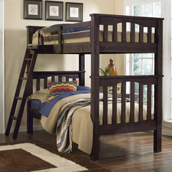 NE Kids - Highlands Harper Full over Full Bunk Bed - FUB633 - Shop for Bunk Beds from Hayneedle.com! The Harper Full over Full Bunk Bed is just the right size for the kid who loves sleepovers or kids sharing a bedroom. No fighting as each gets their own full size bed. This bunk bed can even convert to create two beds when they're ready. They're handcrafted of solid pine and feature a handsome nine-step finishing process in your choice of color. Each bed has slat roll foundation which takes the place of a standard box spring - handy! The ladder may be positioned on either side of the front rail. Add on the optional storage unit or trundle to make this full over full bunk bed a true multi-tasker.Dimensions:Full / Double bunk bed (ea.): 83L x 57.25D x 68.75H in.Hanging tray: 15W x 10.25D x 5H in.Trundle (optional): 75.38L x 40.38W x 10.25H in. Storage (optional): 75.5W x 15.25D x 10.75H in.About New Energy KidsNE Kids is a company with a mission: to create and import truly unique furniture for your child. For over thirty years they've been accomplishing this mission with flying colors one room at a time. Not only will these products look fabulous they will provide perfect safety for your children by adhering to the highest standards set by the American Society for Testing and Material and the Consumer Products Safety Commission. Your kids are in the best of hands and everyone will appreciate these high-quality one-of-a-kind pieces for years to come.
