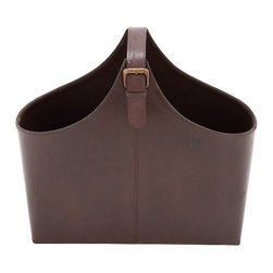 Benzara - Traditional Stunning Wood Real Leather Magazine Holder Home Decor - Traditional and lovely inspired style the stunning wood real leather magazine holder home accent decor