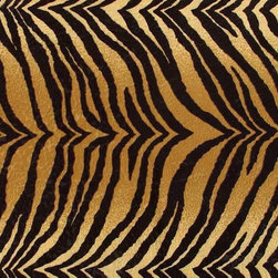 Bengal Tiger Faux Fur Upholstery Fabric - This bold tiger print microfiber fabric is great for any upholstery or home decor project where you need to make a wild statement. I works well in traditional as well and modern design styles. The brusher microfiber construction is durable yet still very soft. It is rated for heavy duty use with a high number of abrasion rubs tests on sample swatches. This is a very high quality upholstery grade of fabric and not some closeout light weight cotton print.  Here are the particulars below ...