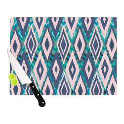 "Kess InHouse - Nika Martinez ""Tribal Ikat"" Blue Pattern Cutting Board (11"" x 7.5"") - These sturdy tempered glass cutting boards will make everything you chop look like a Dutch painting. Perfect the art of cooking with your KESS InHouse unique art cutting board. Go for patterns or painted, either way this non-skid, dishwasher safe cutting board is perfect for preparing any artistic dinner or serving. Cut, chop, serve or frame, all of these unique cutting boards are gorgeous."
