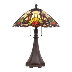 Quoizel - Quoizel TF1504TWT Moore Tiffany Table Lamp - Elegant Tiffany style is a timeless staple of home decor.  The various designs are handassembled using the copper foil technique developed by Louis Comfort Tiffany.  With an enormous variety of colors and patterns to choose from, Quoizel Tiffany�۪s have become more popular than ever.