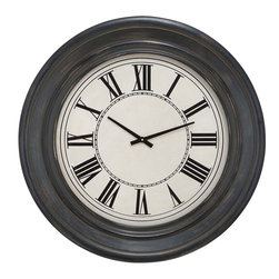 """Benzara - Wall Clock in Dark Brown Finish and Black Roman Numerals - Lend an instant charisma to the kitchen or dining area with the elegantly designed clock that sports an elaborate detailing. Celebrate ageless style with this wonderful wood wall clock that sports a vintage inspired design. This clock is designed in a circular shape with a broad circular frame of wood. The dark brown finish of the clock adds great beauty to it and further complements existing decor of the room. The black colored roman numerals are bold enough to provide greater visibility, and this helps in identifying the time at just a glance. Powered by the technologically advanced mechanism, this clock shows precise timings for a longtime without any malfunctioning. Made of high quality wood, the frame is resistant to deterioration and remains fresh for a longtime. Enhance the decor of your home, and make an instant style update by adorning the walls with this wonderful clock.; Dark brown finish; Black colored roman numerals; Made of high quality wood; Long lasting durability; Weight: 15.88 lbs; Dimensions:32""""W x 3""""D x 32""""H"""