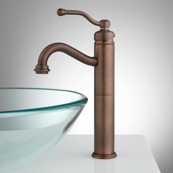 Leta Single-Hole Vessel Faucet with Pop-Up Drain - This solid brass vessel filler faucet with a single-lever handle combines both traditional and modern style, making it a good choice for any vessel sink.
