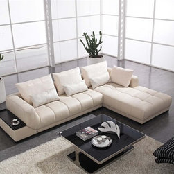 Farak Modern Sectional Sofa - This Farak Modern Sectional Sofa features an attached table top for style and convenience.