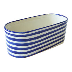 Striped Oval Planter, Blue and White - This planter has earned its stripes. It adds a bold pop of color and pattern wherever you place it — whether in the garden, on the patio or on the deck.