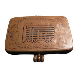 Pre-owned Antique Gauri Box - This diminutive antique copper box was used by Tibetan Monks to carry and protect their personal belongings! Of note is the faded design, which is almost faded due to the amount of rubbing.
