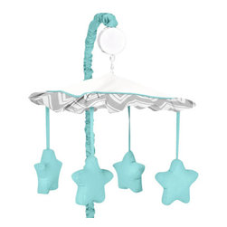 Sweet Jojo Designs - Zig Zag Turquoise and Gray Crib Mobile by Sweet Jojo Designs - The Zig Zag Turquoise and Gray Crib Mobile by Sweet Jojo Designs, along with the  bedding accessories.