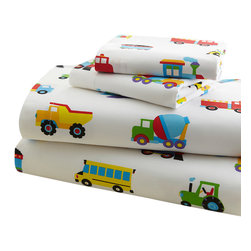 Wildkin - Olive Kids Trains, Planes, Trucks Twin Sheet Set - Trains, Planes & Trucks is an Olive Kids classic! This sheet set is covered with colorful airplanes, trucks and trains. Super soft 100% cotton percale.