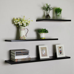 """Black Floating Wall Shelves, 3pcs/set - Portland floating shelf refers to the 1 1/8"""" thick straight floating wall shelf. It is ideal for displaying decorative home accessories, books and so much more. They are made from wood in large variety of finishes. You can hang several shelves to create library, display and highlight a favorite collectible."""