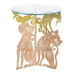 Cricket Forge - Cat Trio Table - Playful, funny, and superbly executed, our Cat Trio Table is the perfect way to showcase your sense of humor as well as your love for animals. Painted in our Tabby Tan with airbrushed shadows and highlights. Birds are painted in vivid yellow.